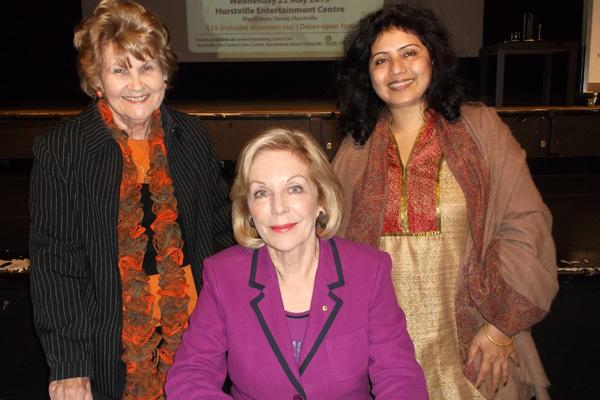 Aishveryaa Nidhi with Ita Clare Buttrose and Lorraine Watson